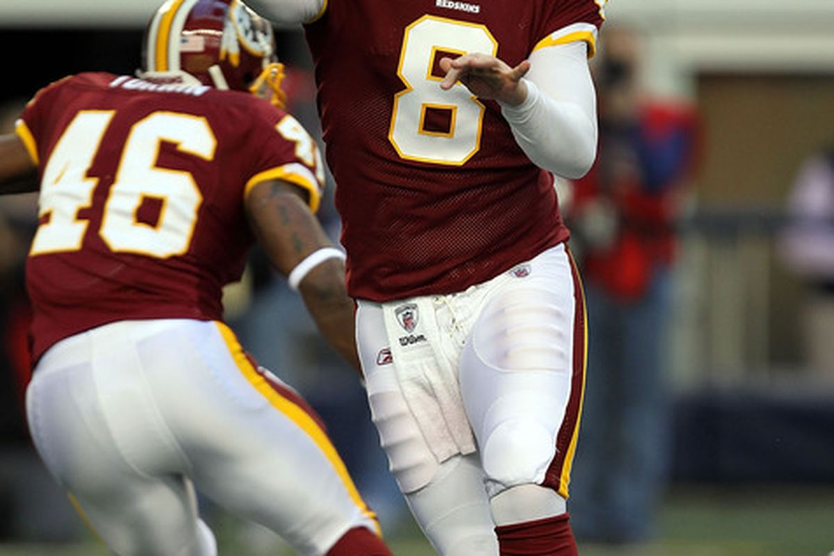 ARLINGTON TX - DECEMBER 19:  Quarterback Rex Grossman #8 of the Washington Redskins passes against the Dallas Cowboys in the first quarter at Cowboys Stadium on December 19 2010 in Arlington Texas.  (Photo by Ronald Martinez/Getty Images)