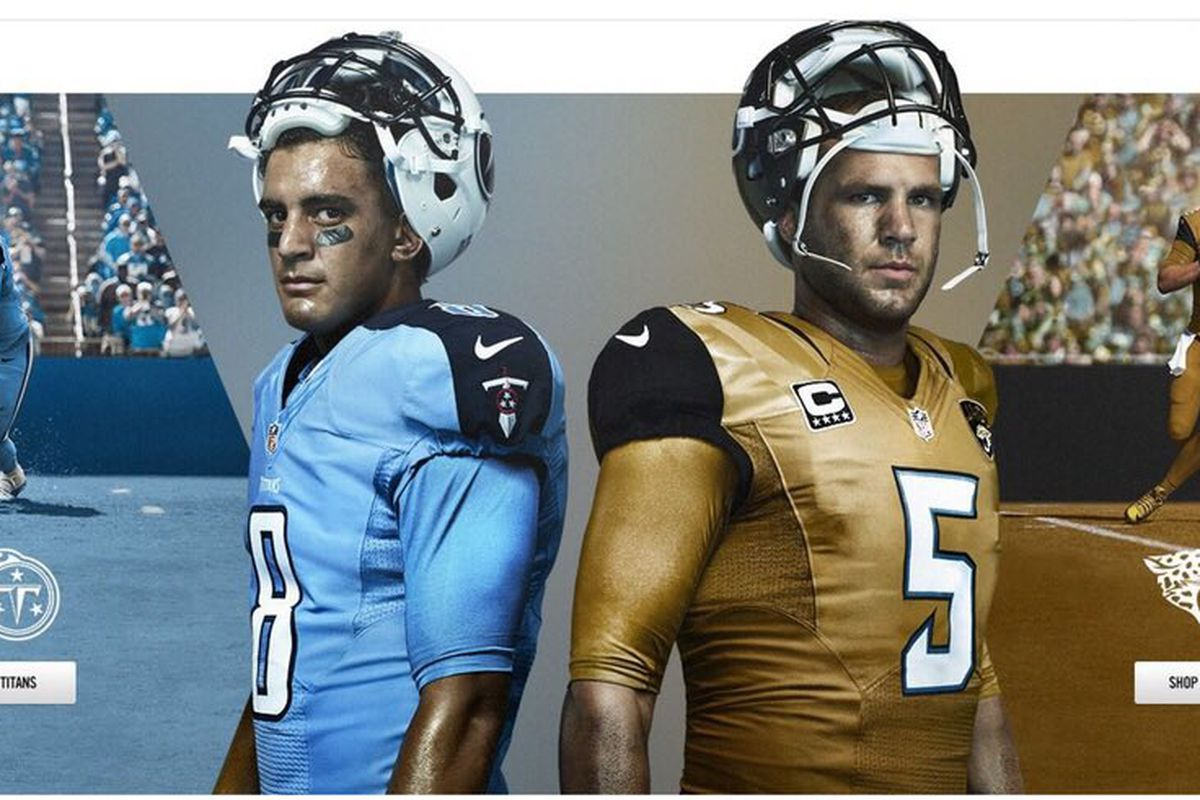 6d37b5bf6 Nike has released concept art for the new Jacksonville Jaguars gold jersey  that they'll wear against the Tennessee Titans on Thursday Night Football  on ...