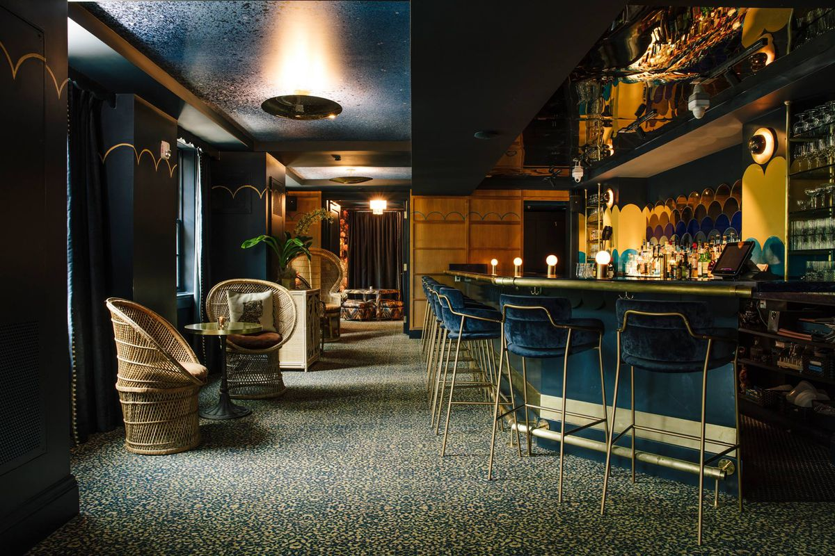 A shot looking toward the lounge and bar at hotel clermont in Atlanta