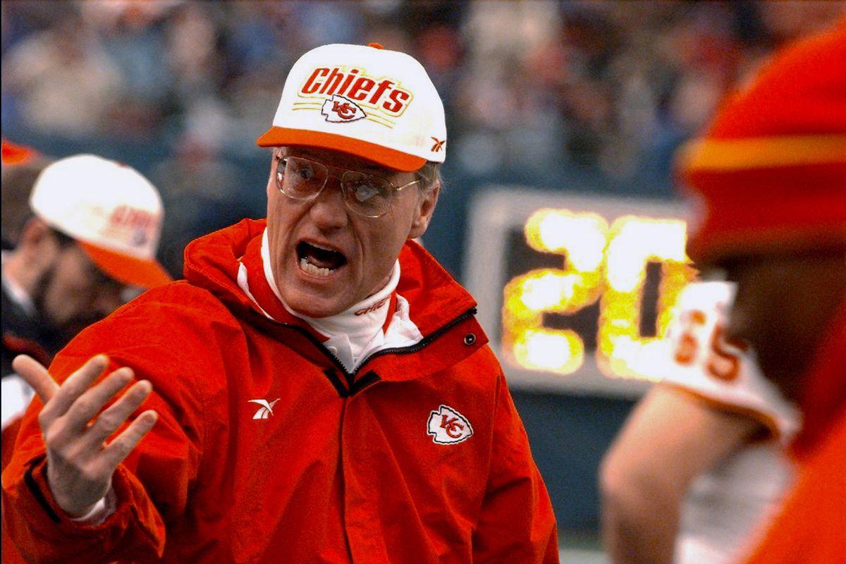 Kansas City Chiefs' coach Marty Schottenheimer tries to moti