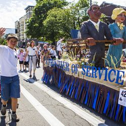 The West Jordan Utah Oquirrh Stake float is pictured during the Days of '47 Union Pacific Railroad Youth Parade held Saturday, July 18, 2015, in Salt Lake City.