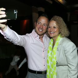 Michael Williamson takes a selfie with Salt Lake mayoral candidate Jackie Biskupski during her election night party in Sugar House on Tuesday, Nov. 3, 2015.