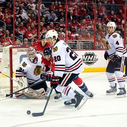 Brouwer and Saad Reach For Puck