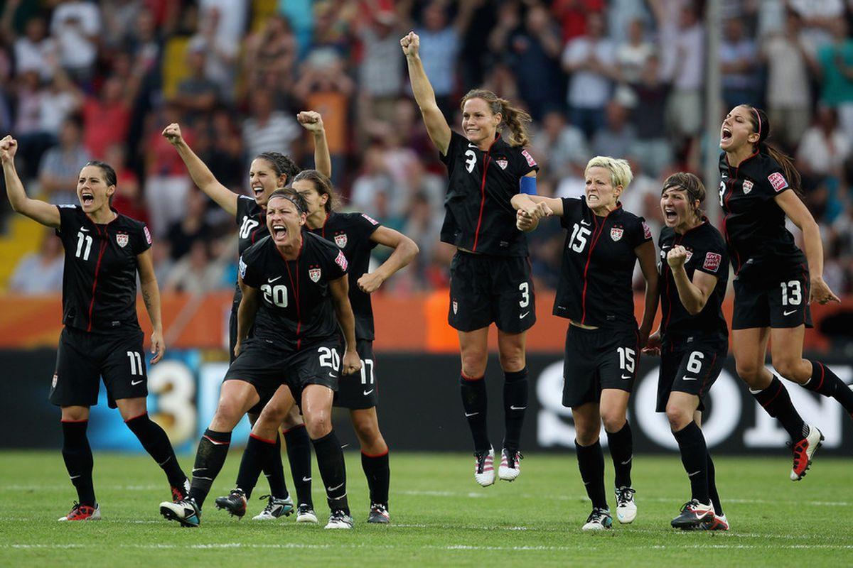 The U.S. Women's team celebrates during the penalty shoot out during the World Cup Quarter Final match against Brazil (Photo by Scott Heavey/Getty Images)