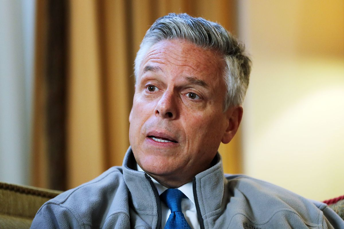 FILE – Ambassador Jon M. Huntsman Jr. is interviewed at the Spaso House in Moscow, Russia on Tuesday, Sept. 25, 2018. The relationship between the United States and Russia is moving in the wrong direction, Ambassador Jon Huntsman Jr. said Thursday.