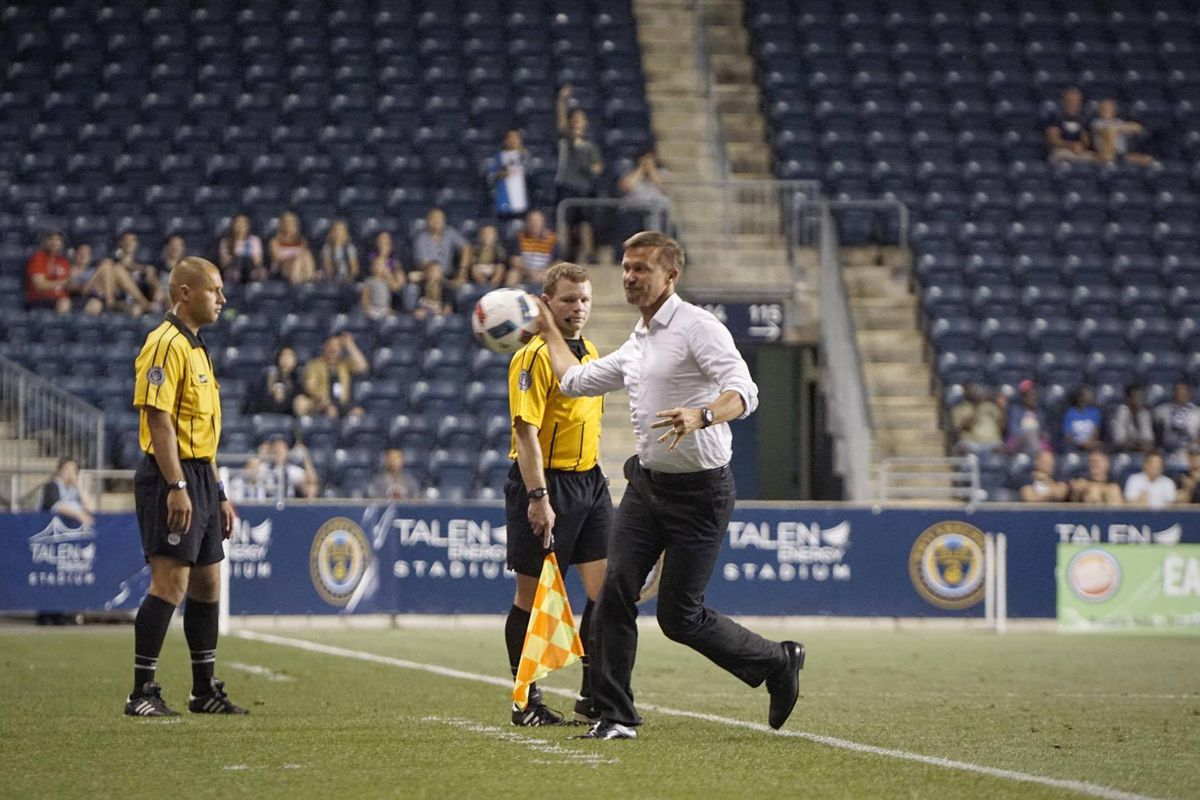 New York Red Bulls' manager Jesse Marsch reacts after being ejected during the Red Bulls' 2-1 loss to the Philadelphia Union.