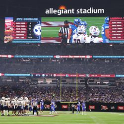 Arizona Wildcats and Brigham Young Cougars play during the Vegas Kickoff Classic in Las Vegas on Saturday, Sept. 4, 2021.
