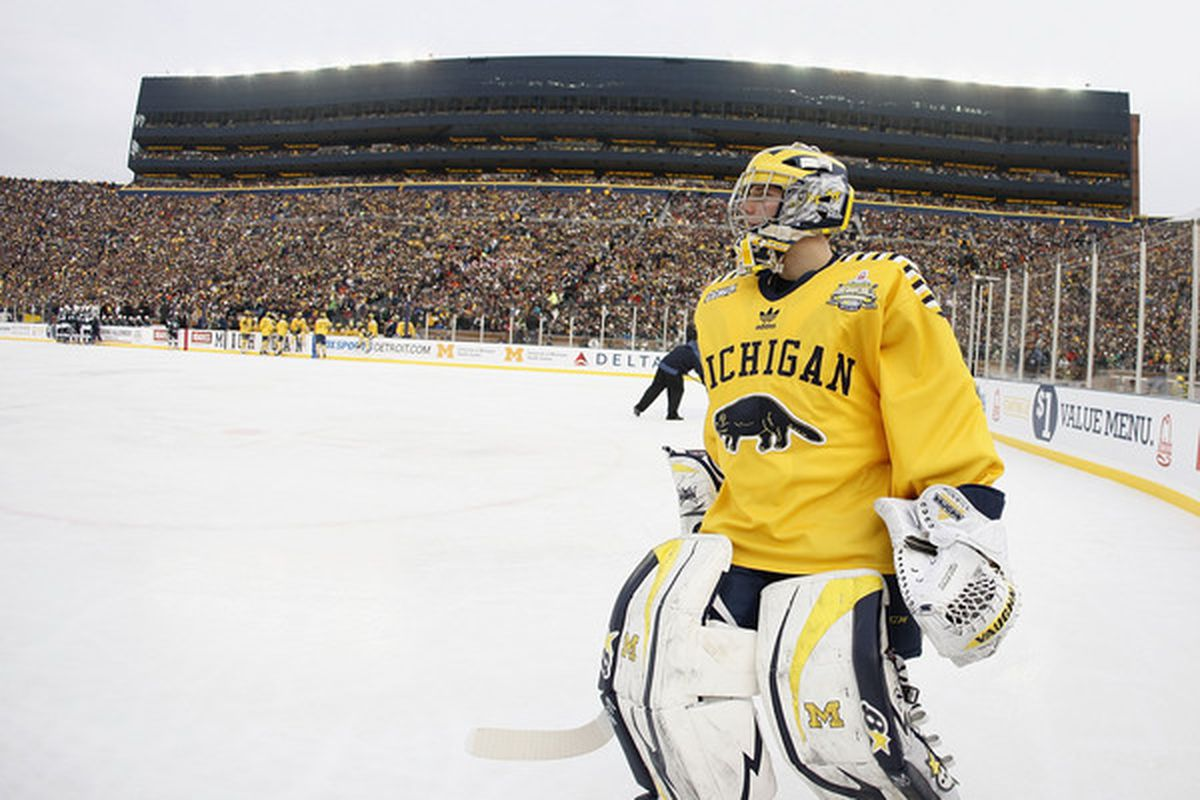 Goalie Shawn Hunwick and the Michigan Wolverines take on Nebraska-Omaha in the first NCAA Tournament West Regional matchup in St. Louis. (Photo by Gregory Shamus/Getty Images)
