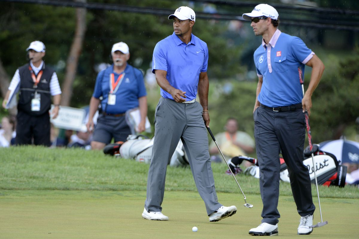 british open tee times  tiger woods paired with adam scott