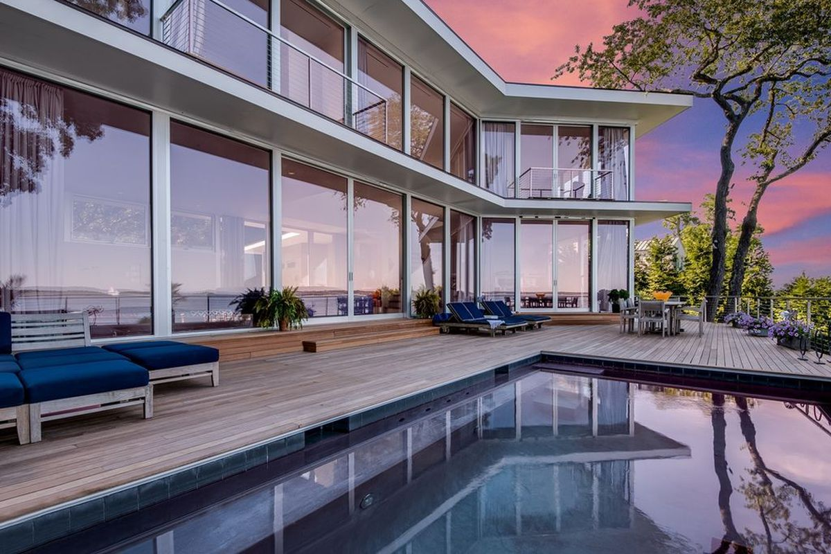 How much for a sag harbor waterfront modern home with four for How much is a house in the hamptons