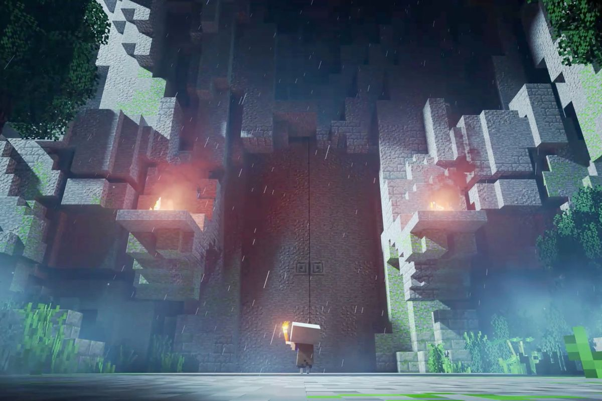 A Minecraft Dungeons player stands in front of huge doors