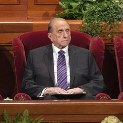 The First Presidency of the Church of Jesus Christ of Latter-day Saints, President Thomas S Monson, center, and his counselors President Henry B. Eyring, left, and President Dieter F. Uchtdorf, right, wait for the start of the Sunday afternoon session of the 183rd Semiannual General Conference for the Church of Jesus Christ of Latter-day Saints Sunday, Oct. 6, 2013 inside the Conference Center.