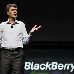 Thorsten Heins, President and CEO of Research in Motion, speaks about the new BlackBerry 10 at the BlackBerry Jam Americas conference in San Jose, Calif., Tuesday, Sept. 25, 2012.
