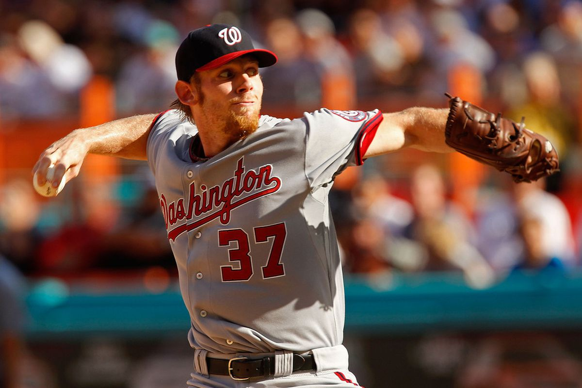 MIAMI GARDENS, FL - SEPTEMBER 28:  Stephen Strasburg #37 of the Washington Nationals pitches during a game against the Florida Marlins at Sun Life Stadium on September 28, 2011 in Miami Gardens, Florida.  (Photo by Mike Ehrmann/Getty Images)