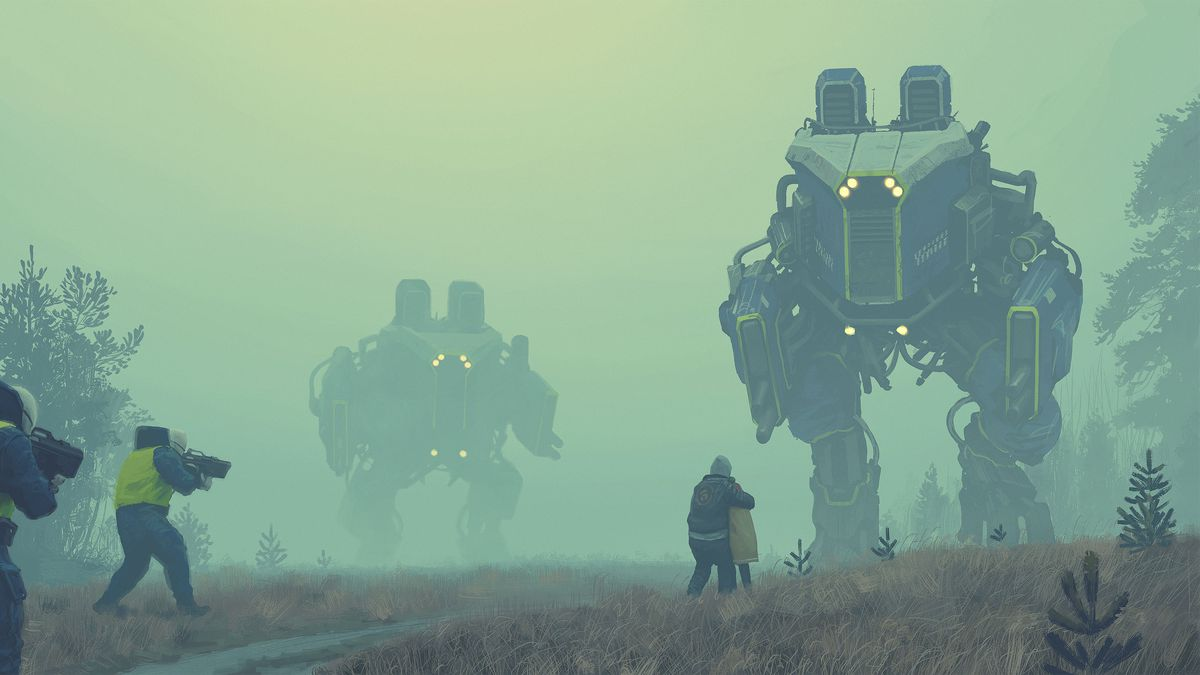 Two children cower before a massive mecha. Behind them, armed troops are bearing down.