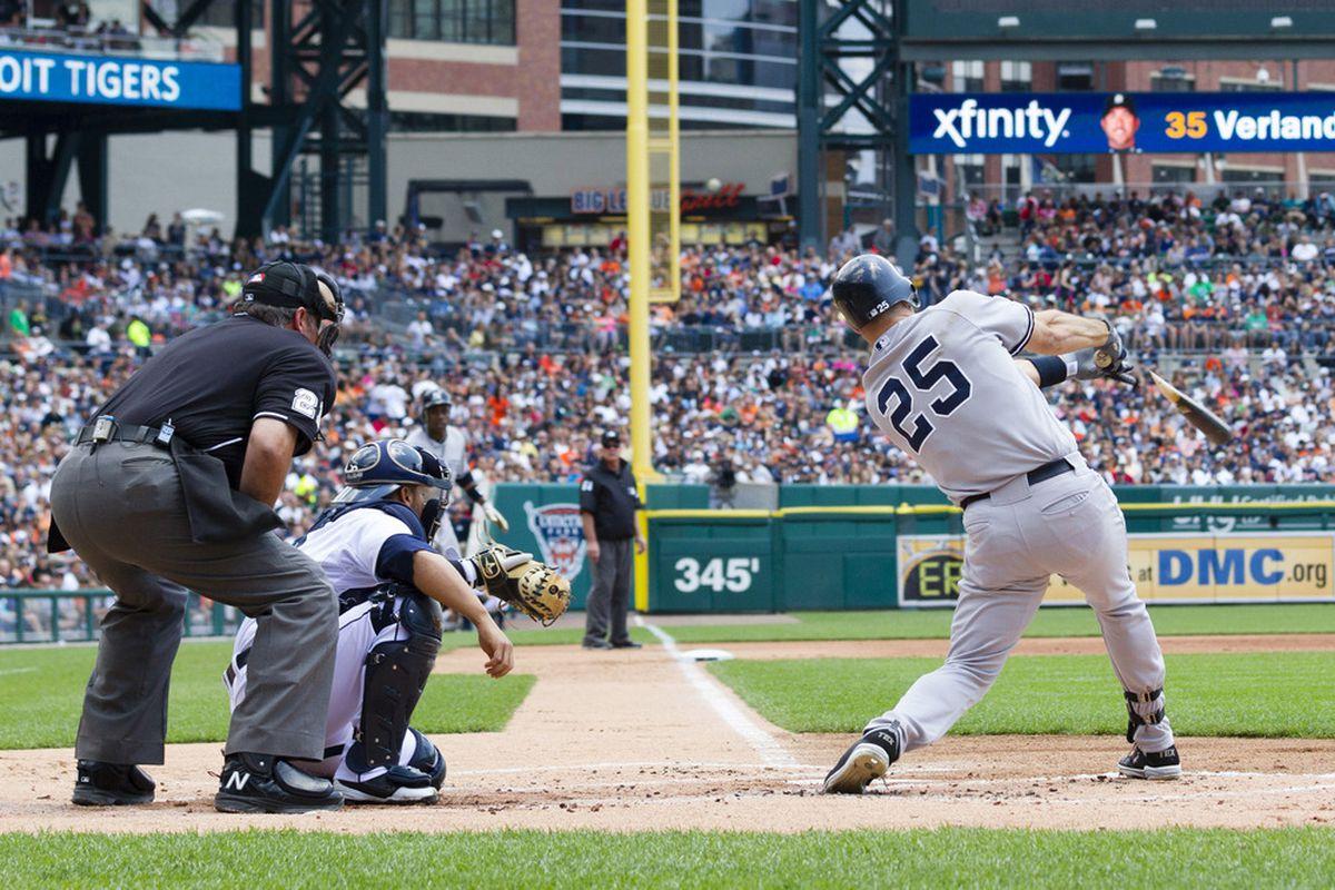 June 3, 2012; Detroit, MI, USA; New York Yankees first baseman Mark Teixeira (25) hits an RBI broken bat single during the first inning against the Detroit Tigers at Comerica Park. Mandatory Credit: Rick Osentoski-US PRESSWIRE