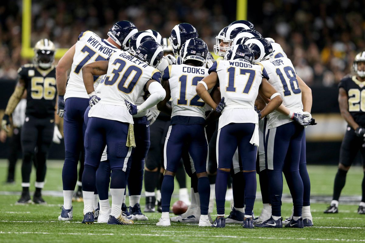 The Los Angeles Rams in their offensive huddle against the New Orleans Saints, Nov. 4, 2018.