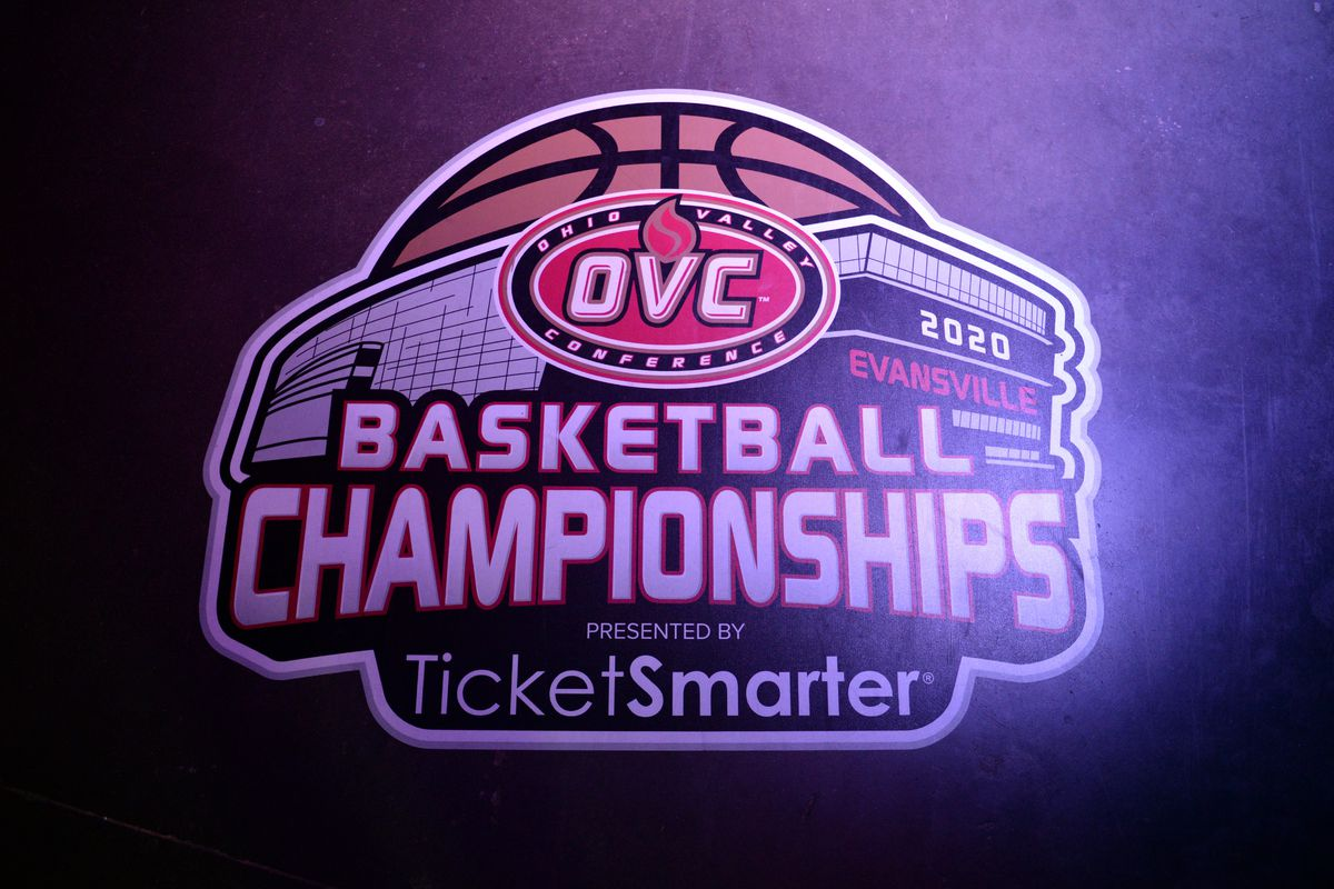 An Ohio Valley Conference Championships logo is seen on the floor by the player entrance before the start of the conference tournament game between the Murray State Racers and the Belmont Bruins on March 7, 2020, at the Ford Center in Evansville, Indiana.