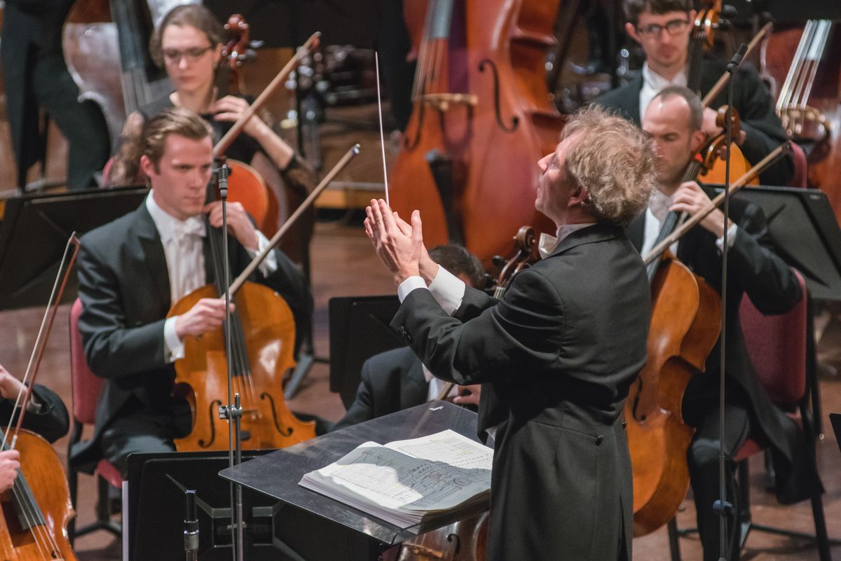 Thierry Fischer conducts the Utah Symphony and Tabernacle Choir at Temple Square on Feb. 20, 2016, as they perform Mahler's Symphony No. 8 for the O.C. Tanner Gift of Music.