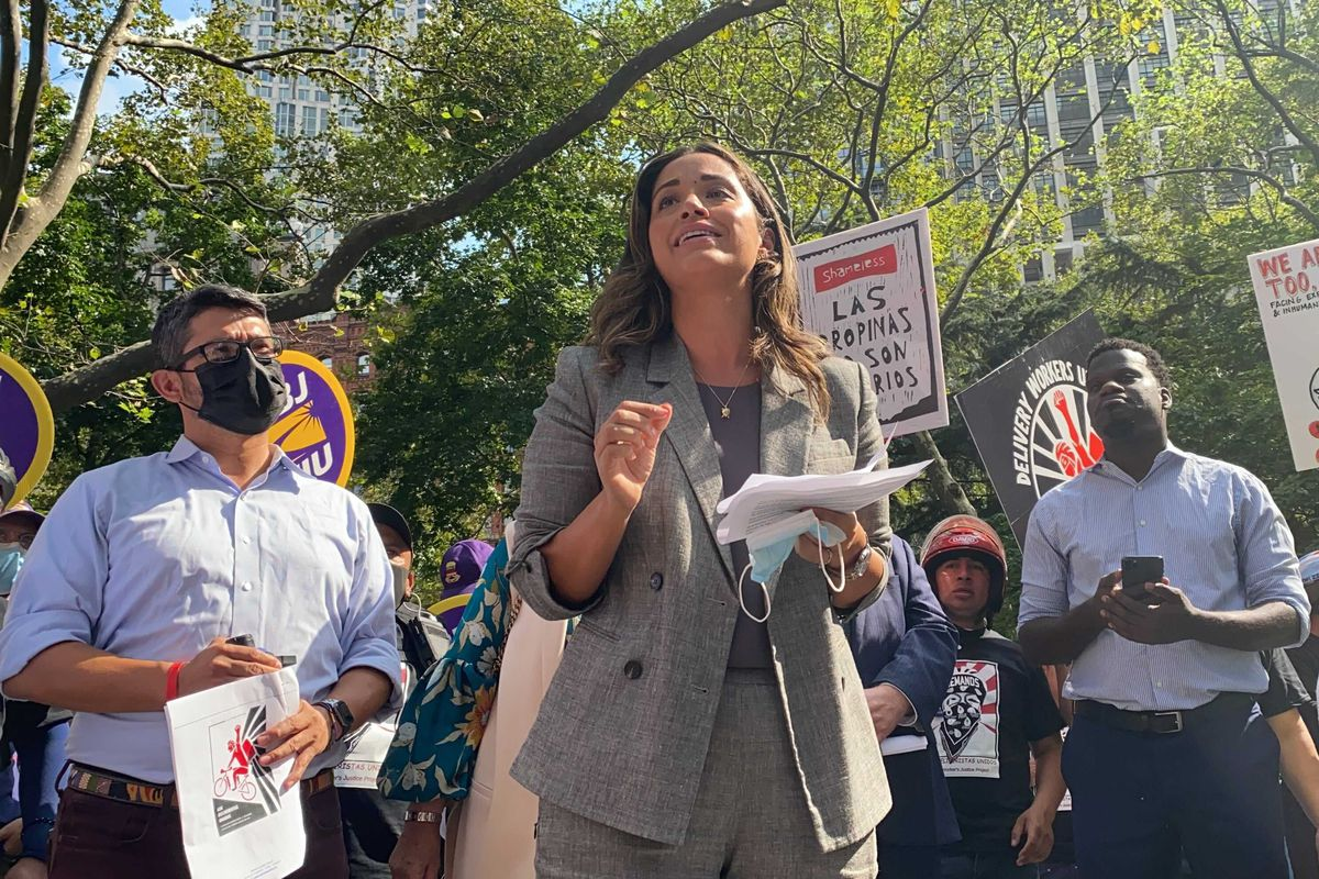 Councilmember Carlina Rivera speaks in support of delivery workers during a rally outside City Hall on Monday, Sept. 13, 2021.