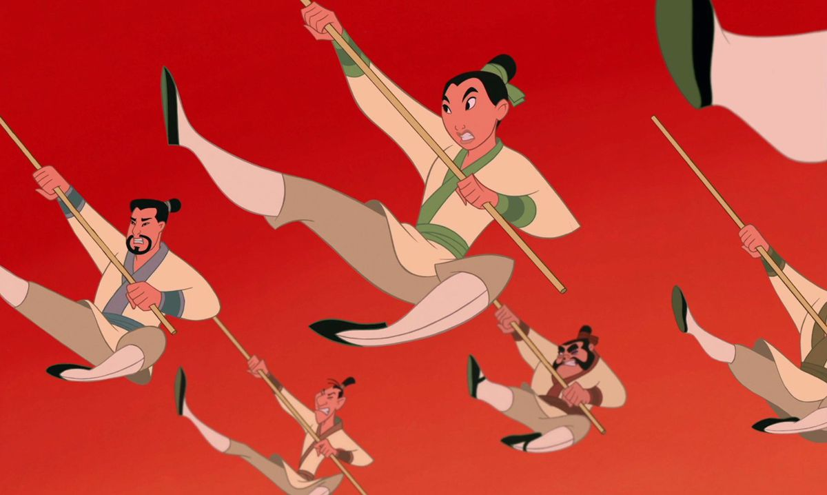 "mulan and the rest of the army doing an epic jump kick after ""i'll make a man out of you"""