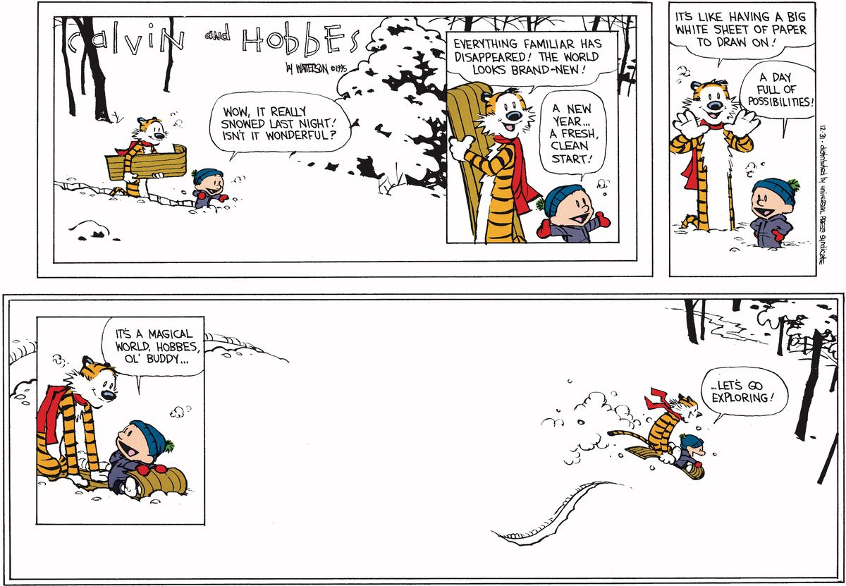 calvin and hobbes final comic strip