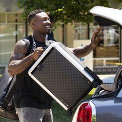 Chicago Bears' wide receiver Taylor Gabriel #18 arrives for training camp at Olivet Nazarene University in Bourbonnais, Thursday afternoon, July 25, 2019.