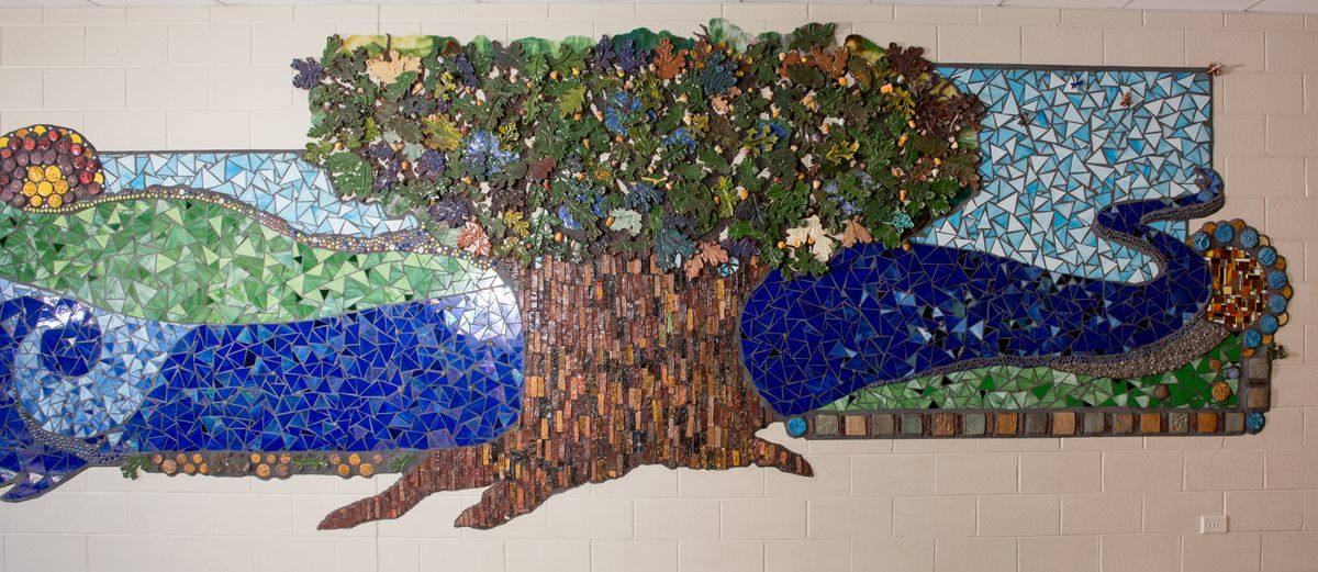 """""""Creekside Mosaic"""" inside Creekside Middle School was created over a number of years."""