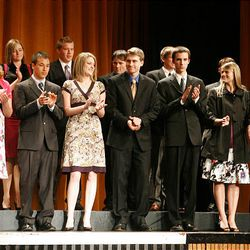 Finalists in the business and marketing category take the stage at Cottonwood High School during the Sterling Scholar awards ceremony on Wednesday night.