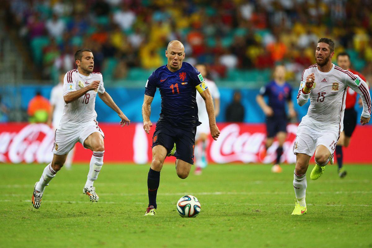 Arjen Robben scored twice for the Dutch in their opener against Spain.