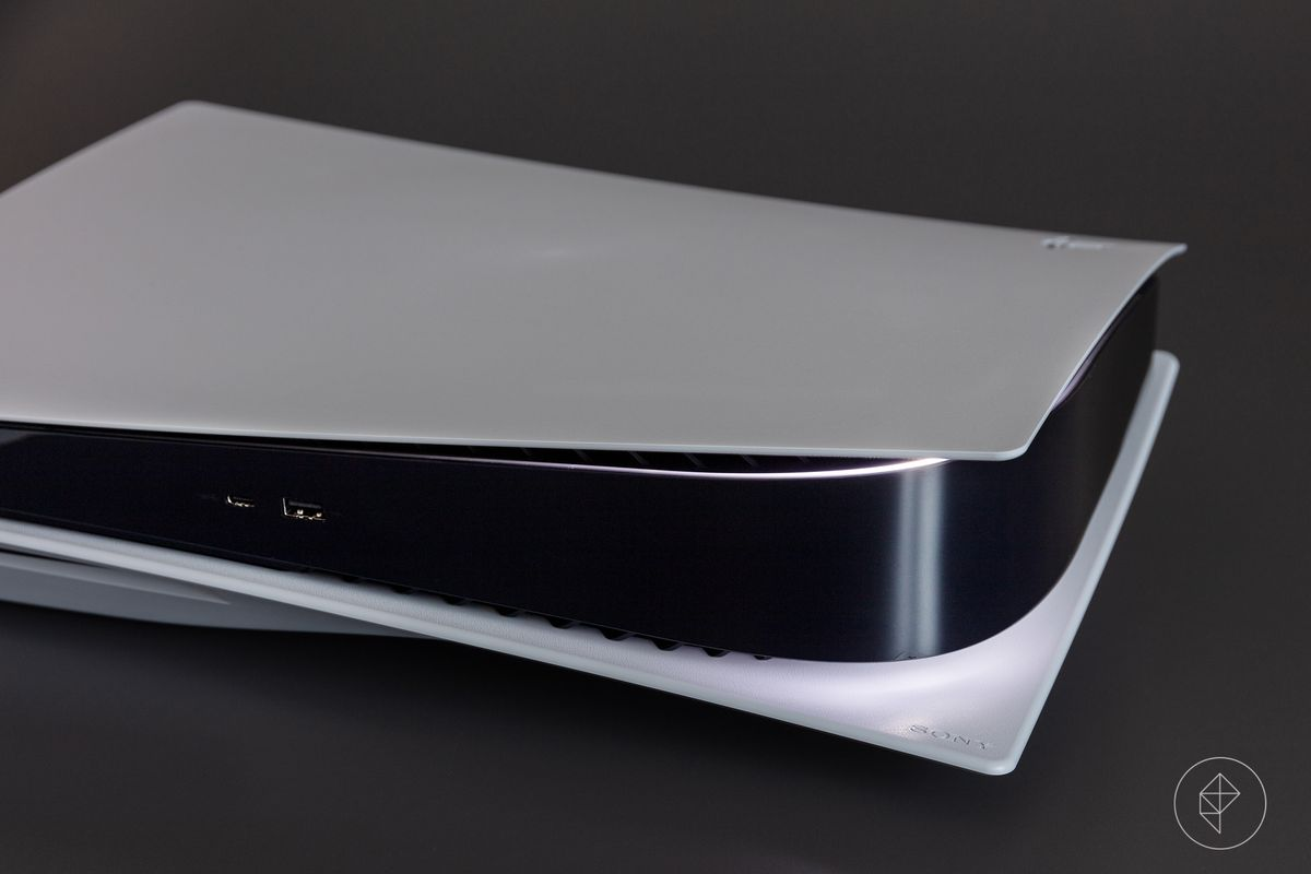 The PlayStation 5 laying on its side, turned off