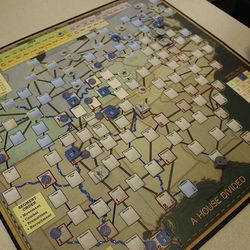 The game board from A House Divided, from Mayfair Games, depicts the United States during the Civil War, through various cities, roads, railroads and rivers.