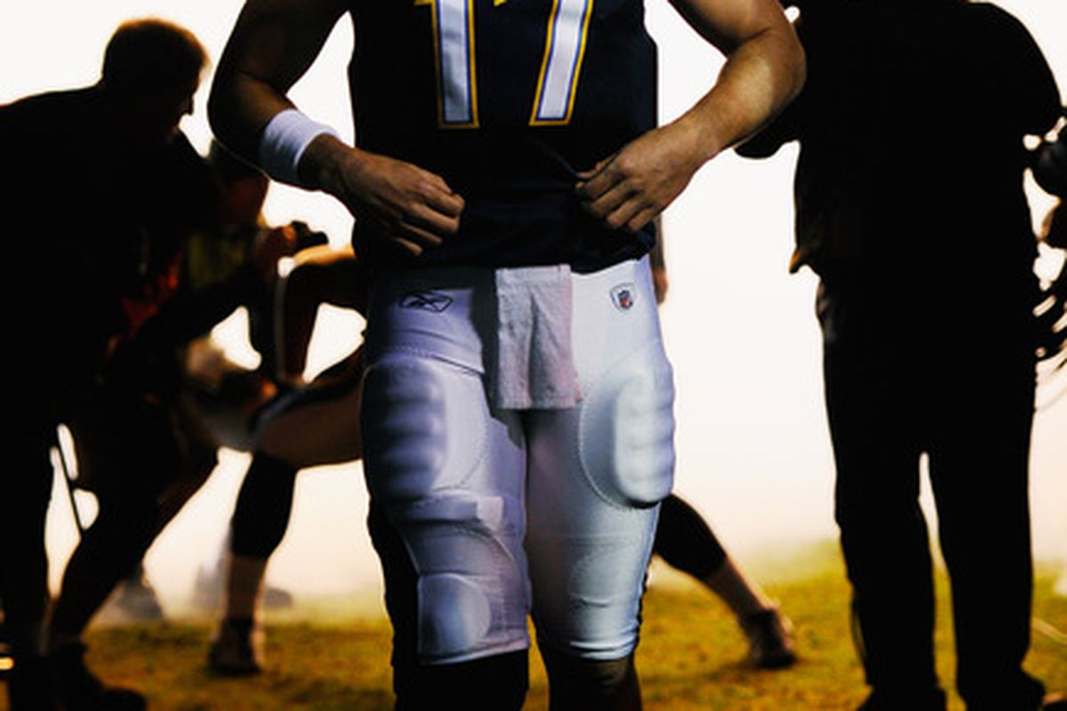 SAN DIEGO:  Quarterback Philip Rivers #17 of the San Diego Chargers waits to be introduced prior to the start of the NFL football game against Denver Broncos at Qualcomm Stadium in San Diego California.  (Photo by Kevork Djansezian/Getty Images)