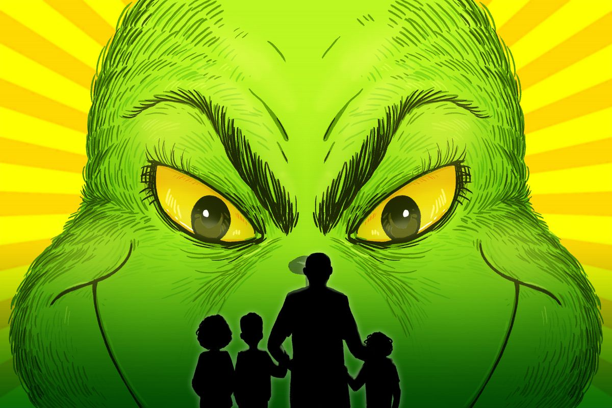 Silhouettes of Shea Serrano and his three sons in front of a massive image of the Grinch's face