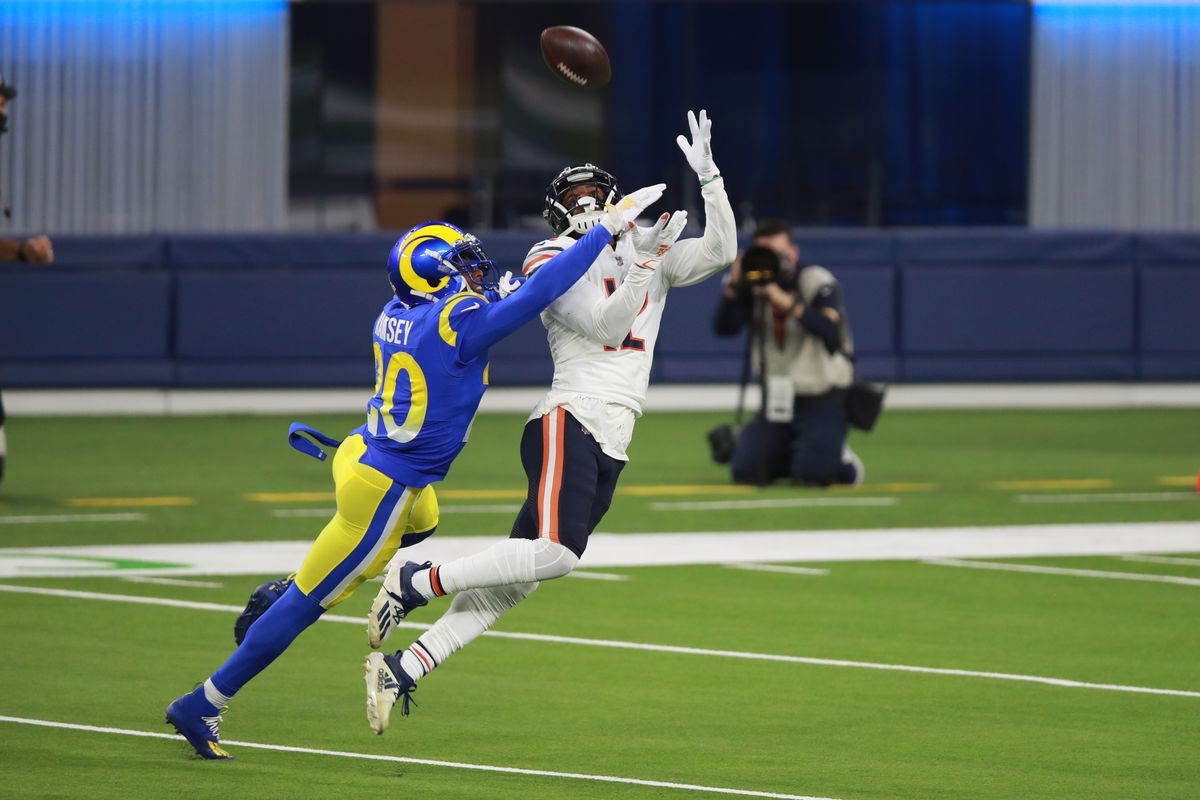 Bears receiver Allen Robinson leaps for a pass Monday night against the Rams.
