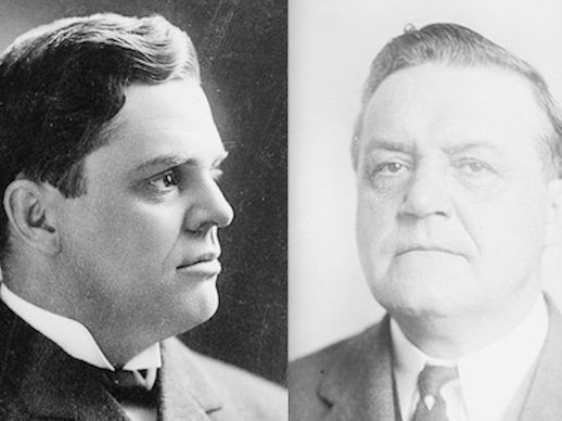 Gov. Charles S. Deneen, left, and Frank Funk, right. Library of Congress photos.