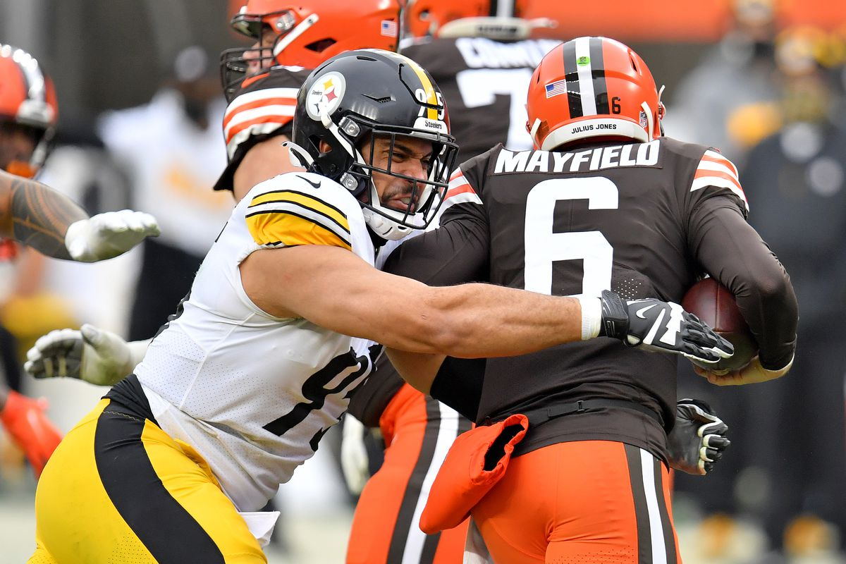 Chris Wormley #95 of the Pittsburgh Steelers sacks Baker Mayfield #6 of the Cleveland Browns in the second quarter at FirstEnergy Stadium on January 03, 2021 in Cleveland, Ohio.
