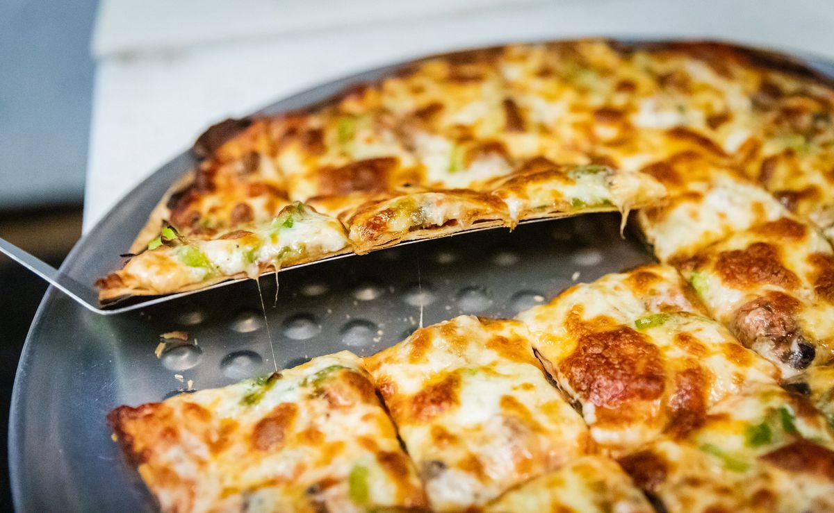 Pizza cut into squares.