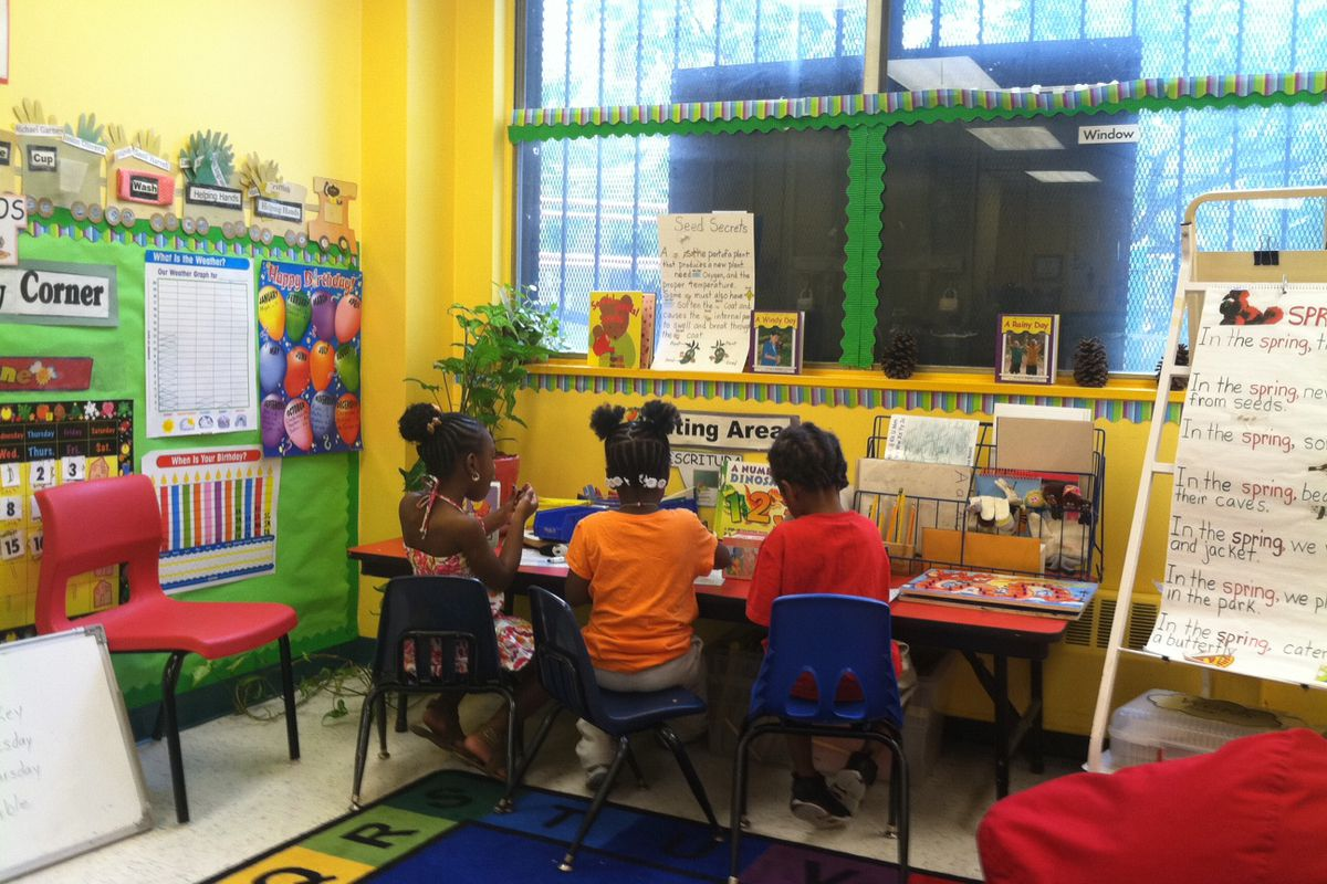 Children in the math area at the Bedford Stuyvesant Early Childhood Center