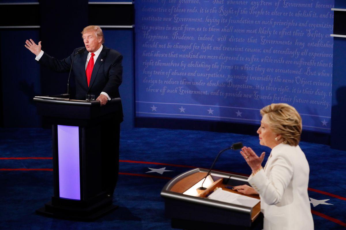 Hillary Clinton and Donald Trump at the final debate.