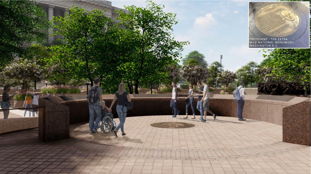 A rendering of a semi-circular elevated kiosk area in a memorial park.