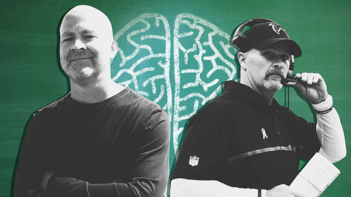 A collage of Russ Rausch, cofounder of mindfulness company Vision Pursue, and Atlanta Falcons coach Dan Quinn