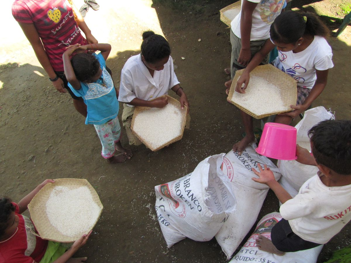 This 2010 photo provided to The Associated Press shows children sifting rice at the Topu Honis children's shelter in Kutet, East Timor.