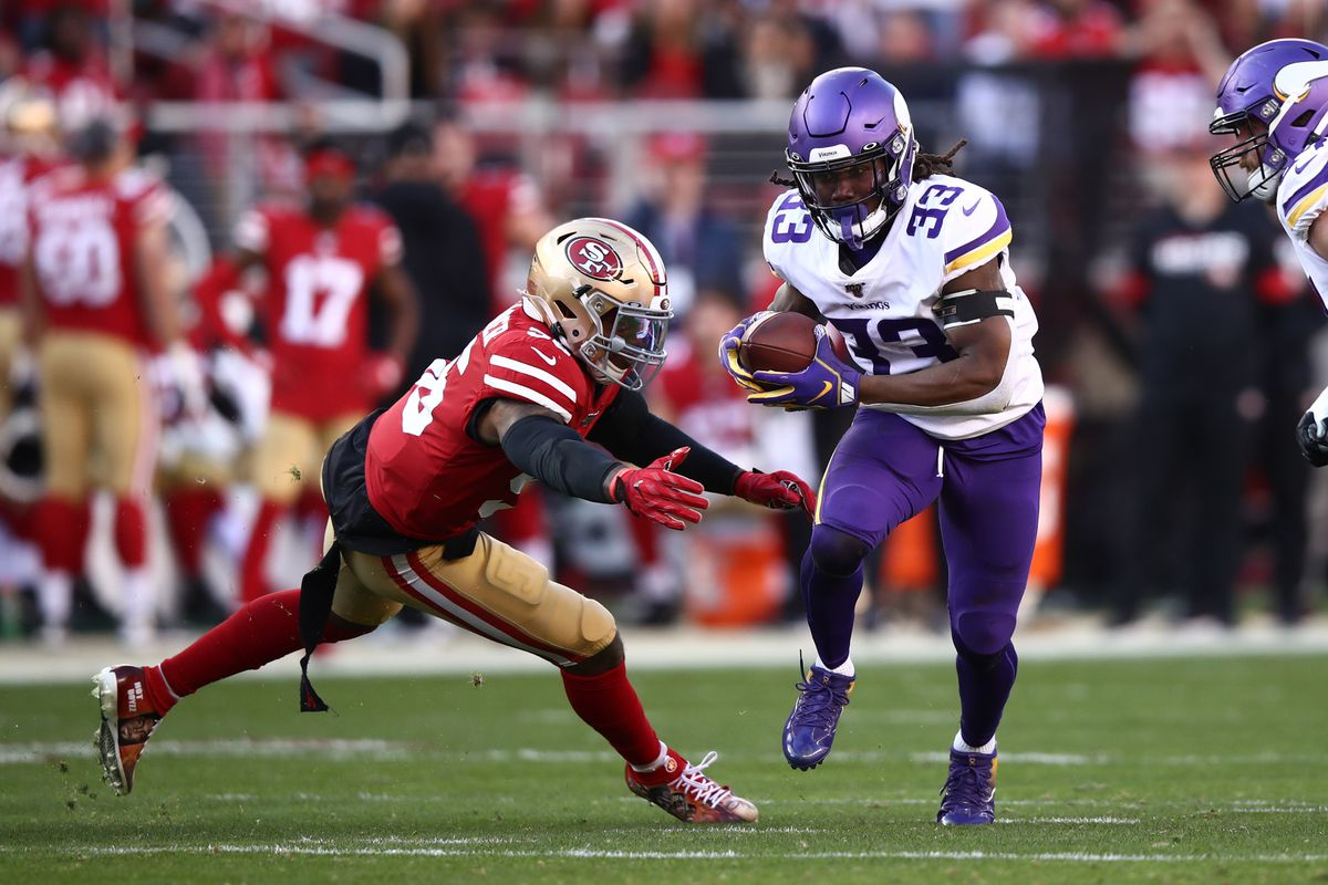 Dalvin Cook of the Minnesota Vikings rushes with the ball against the San Francisco 49ers during the NFC Divisional Round Playoff game at Levi's Stadium on January 11, 2020 in Santa Clara, California.