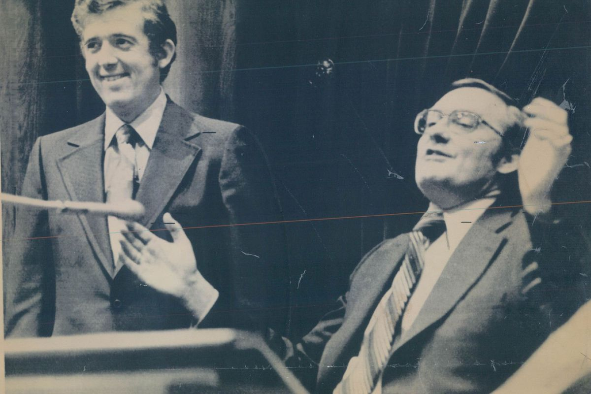 Gov. James R. Thompson lets out a sigh of relief after Democrat Thomas Hynes of Chicago is chosen Senate president after a six-week standoff with party dissidents in 1977.