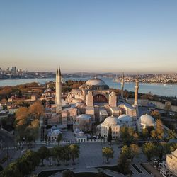 In this Saturday, April 25, 2020 file photo, an aerial view of the Byzantine-era Hagia Sophia, one of Istanbul's main tourist attractions in the historic Sultanahmet district of Istanbul. Turkey's Council of State on Friday, July 10, 2020, threw its weight behind a petition brought by a religious group and annulled a 1934 cabinet decision that changed the 6th century building into a museum. The ruling allows the government to restore the Hagia Sophia's previous status as a mosque. The decision was in line with the Turkish President's Recep Tayyip Erdogan's calls to turn the hugely symbolic world heritage site into a mosque despite widespread international criticism, including from the United States and Orthodox Christian leaders.