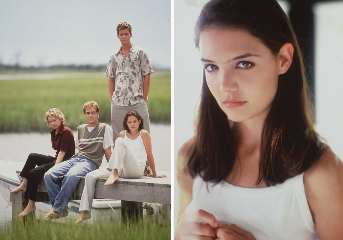 The stars of 'Dawson's Creek,' Michelle Williams, James Van Der Beek, Katie Holmes and Joshua Jackson Star, in 1998. (left) Katie Holmes, 1998.