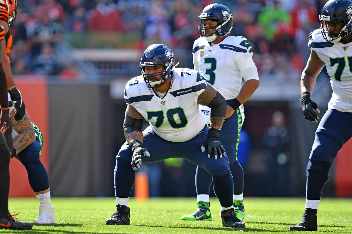 Mike Iupati of the Seattle Seahawks lines up during the first half against the Cleveland Browns at FirstEnergy Stadium on October 13, 2019 in Cleveland, Ohio.