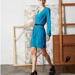 V Neck Long Sleeve Pleated A Line Dress, $75.00
