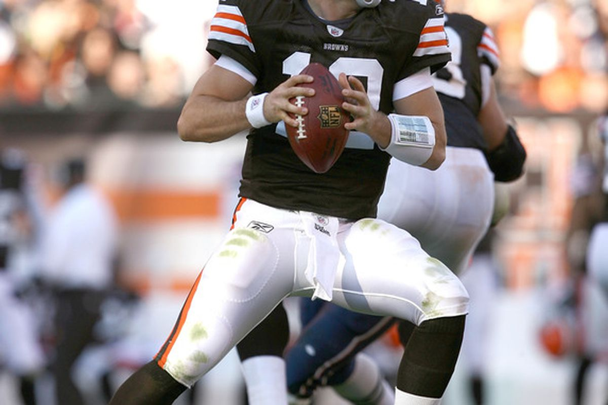 CLEVELAND - NOVEMBER 07:  Quarterback Colt McCoy #12 of the Cleveland Browns throws to a receiver against the New England Patriots at Cleveland Browns Stadium on November 7 2010 in Cleveland Ohio.  (Photo by Matt Sullivan/Getty Images)